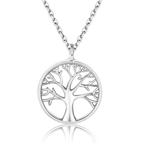 Collar Life Tree para mujer, plata esterlina 925 real, collar colgante chapado en oro, regalos de San Valentín para el día de la madre en Navidad, 40 + 5cm Cadena de extensión (plata)