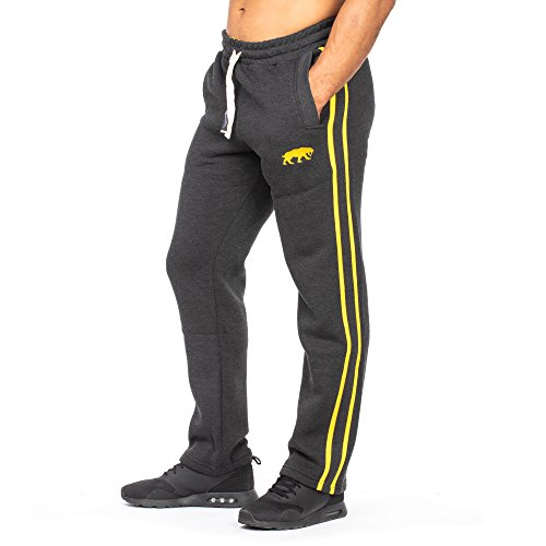 SMILODOX Herren Jogginghose Loose | Trainingshose für Sport Fitness Gym Training & Freizeit | Sporthose - Jogger Pants - Sweatpants Hosen - Freizeithose Lang, Farbe:Anthrazit/Gelb, Größe:S