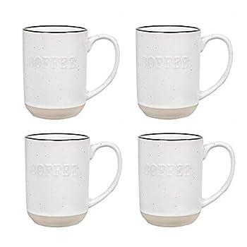 Sheffield Home Set of Stoneware Coffee Mugs- 4 Printed Coffee Cups Tea Cups Latte Mugs 15 oz  White