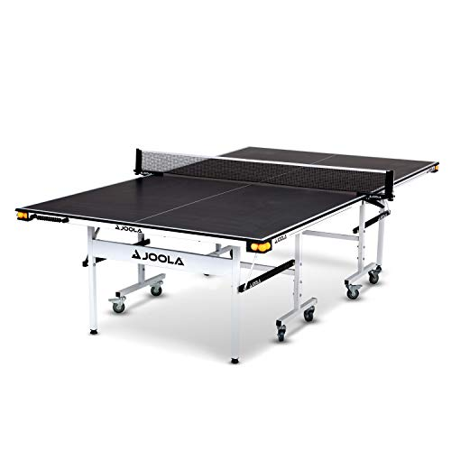 JOOLA Rally TL - Professional MDF Indoor Table Tennis Table w/ Quick Clamp Ping Pong Net & Post Set - 10 Minute Easy Assembly - Corner Ball Holders - USATT Approved - Ping Pong Table w/ Playback Mode, 15mm, Charcoal, Model:11131