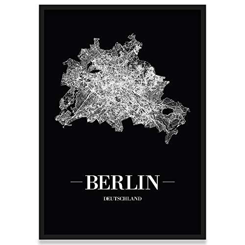 JUNIWORDS Stadtposter, Berlin, Wähle eine Größe, 30 x 40 cm, Poster mit Rahmen, Schrift A, Schwarz