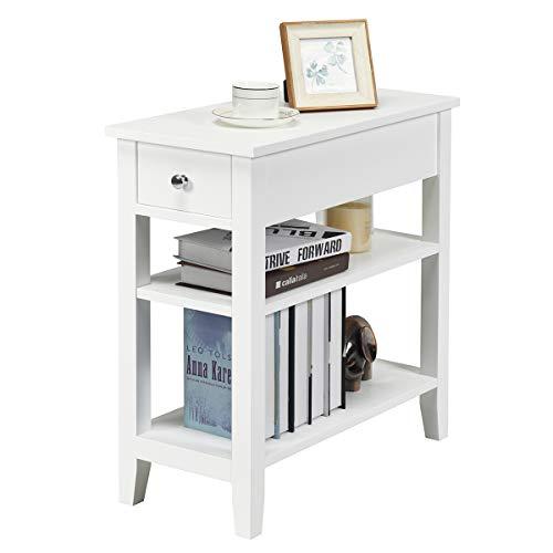 COSTWAY Konsolentisch mit Ablage und Schublade, 3-stöckiger Beistelltisch Holz, Nachttisch Industrie Design Flurtisch für Wohnzimmer 60x28,5x61cm (Weiß)