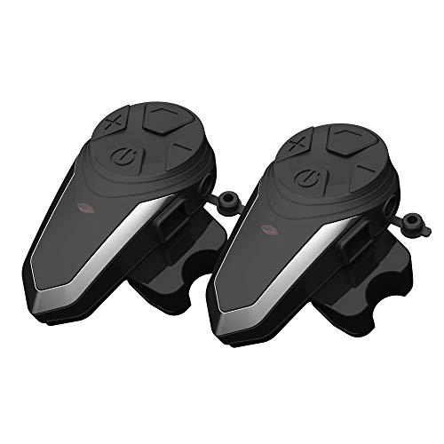 LICHUXIN Casco la Motocicleta Bluetooth Headset,2 Piezas de Casco Full Duplex walkie Talkie Radio FM Auricular Bluetooth,Resistente al Agua y soporta Llamadas Manos Libres,estéreo reducción Ruido