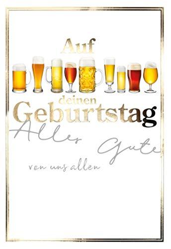 Geburtstagskarte für Männer, Geburtstag, B6, im Format DIN B6 176 x 125 mm, Klappkarte inkl. Umschlag, Motiv: Bier