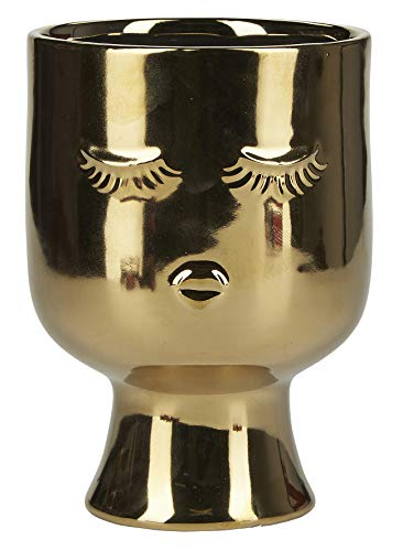 Miss Etoile - Blumenvase, Blumentopf - Little with Closed Eyes Gold - Keramik - Ø10 x H10,5 cm