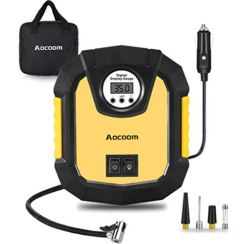 Aocoom Portable Car Air Compressor Digital 150PSI DC 12V Electric Auto Air Pump Tire Inflator with Pressure Gauge and LED Light for Car, Bicycle, Motorcycle, Automobile, Basketball