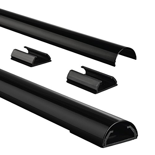 Hama Stabiler Kabelkanal aus Aluminium schwarz (1,1 Meter Länge, für 5 Kabel, robuste halbrunde Metall Kabelabdeckung)