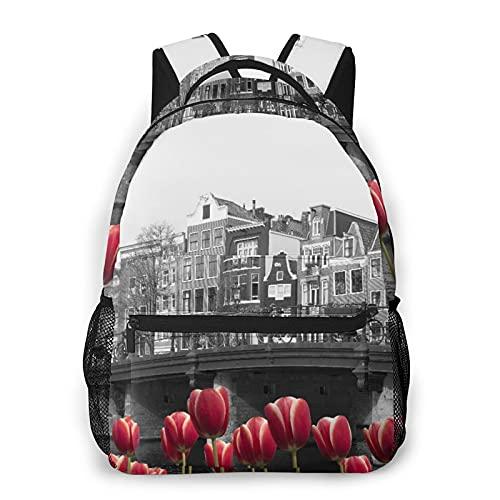 MEJX Mochila Paquete de Almacenamiento,Imagen en blanco y negro de un canal de Amsterdam con tulipanes rojos,Casual Bolsa de Estudiantes de la Escuela Mochila Portátil de Viaje