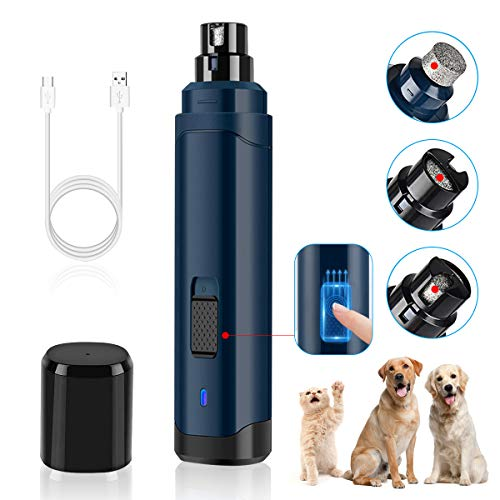 Dog Nail Grinder Upgraded, Professional Pet Nail Drill, 2-Speed Electric Rechargeable Nail Grooming Trimmer for Small, Medium, Large Dogs & Cats (Dark Blue)