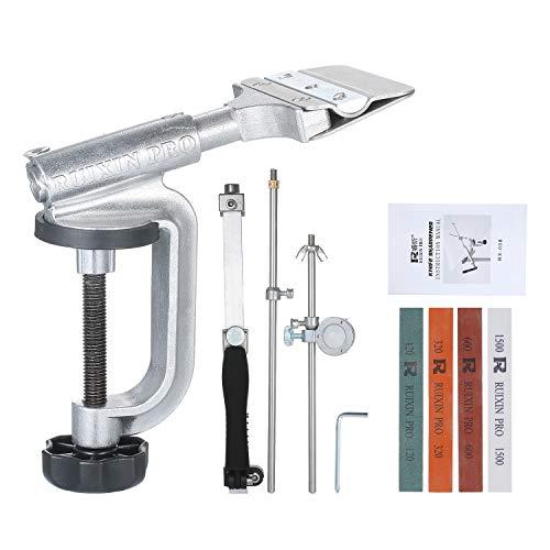 KKmoon Festwinkel Messerschärfer,Messer Schärfset Slicker Edge Sharpener Schleife Haltesystem mit 4 Schleifsteinen(120#, 320#, 600#, 1500#)