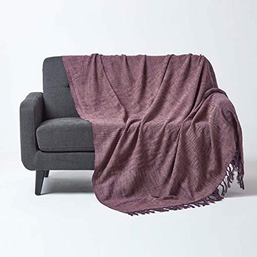 Homescapes extra große Tagesdecke Nirvana, lila, Wohndecke/Sofaüberwurf aus 100prozent Baumwolle, 225 x 360 cm, Knoten-Optik mit Fransen