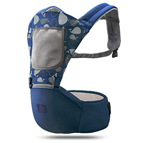 HTTIB 3 in 1 Newborn Carrier Bag Waist Stool - Ergonomic Infant Hipseat Rucksack Kids Kangaroo Carrier - Toddler Child Backpack Baby Hip Seat (Color : Blue)
