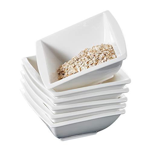 MALACASA, Serie Blance, 6 TLG. CremeWeiß Porzellan Schüsseln Set Schälen Müslischüssel DessertSchälen Bowl 14,5X14,5X6cm