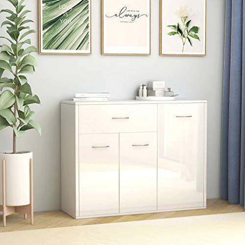 UnfadeMemory Sideboard Kommode Spanplatte Beistellschrank Standschrank Anrichte Schrank mit 1 Schublade und 3 Türen Wohnzimmerschrank 88x30x70 cm (Hochglanz-Weiß)