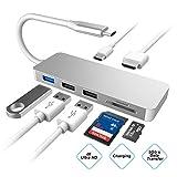 USB C Hub 7 in 1 Typ C Adapter mit 4K@30Hz Buchse HDMI, USB Portsx3, PD Stromversorgungsport, SD/TF...