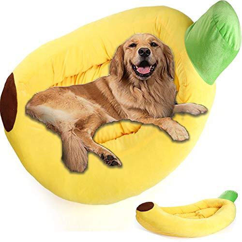 HANHAN Personalised Dog Bed Banana Wicker Extra Large Memory Foam Labrador Sofa Calming Cushion XL Washable Orthopedic Anxiety Mattress Comfy Cute Chew Proof Medium
