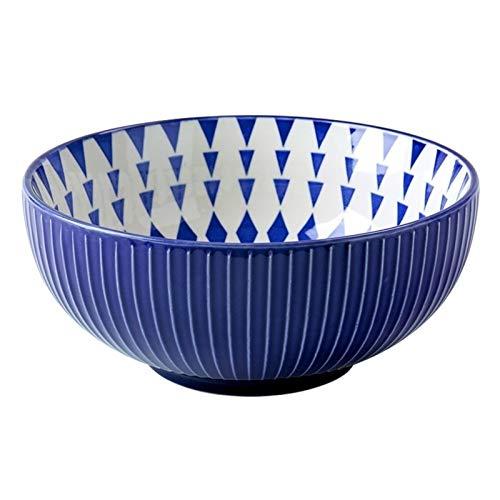 Alivio de cerámica personalidad grande de Tazones sopa tazón grande Noodle Bowl Inicio ensaladera grande 8 pulgadas Vajilla cuenco (Color : Blue)
