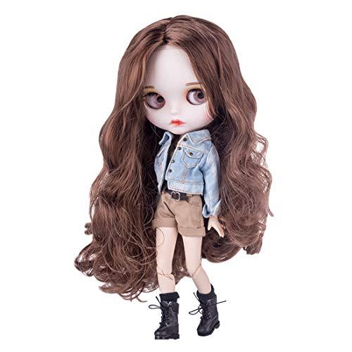 Mecotecn Blythe Doll, 1/6 Blythe Puppe Doll mit Make-up, Kleidung, 4 Farben Augäpfel, Hände, Schuhe (Puppe 5)