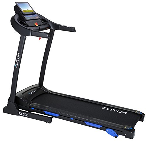 Elitum TX500 elektrisches Laufband Heimtrainer klappbar, Smartphone Steuerung, MP3, AUX, Geschwindigkeit: 0,1-14km/h, 12 Trainingsprogramme, bis 150 kg