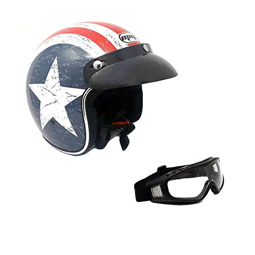 MMG 207 Motorcycle Cruiser 3/4 Shell Open Face Helmet Snap On Visor, Stars and Stripes American Patriot, Large, Includes Goggles