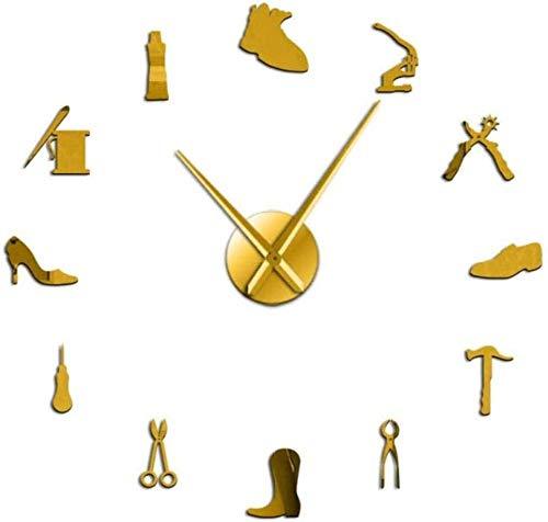 LIUXU Reloj de Pared de acrílico Zapatero Profesional Zapatero Herramientas DIY Reloj de Pared Herramienta Vintage Zapatero Martillo Autoadhesivo acrílico Espejo Pegatina reloj-47 Pulgadas