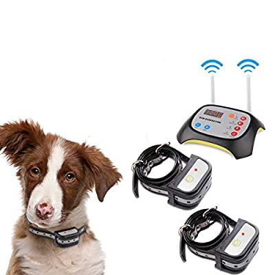 JUSTPET Wireless Dog Fence & Dog Training 2 in 1 System, Wireless Fence Container for Dogs, Dual Antenna More Stable Strong Signal, Waterproof Rechargeable Reflective Stripe Collar