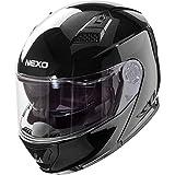 Nexo Motorradhelm, Vollvisierhelm, Klapphelm Basic II, Thermoplasthelm mit Sonnenblende, klares,...