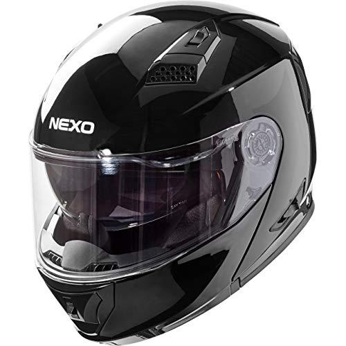 Nexo Klapphelm Motorradhelm Helm Motorrad Mopedhelm Basic II, Thermoplasthelm mit Sonnenblende, klares, kratzfestes Visier, 1.550 g, mehrfache Be- und Entlüftung, Ratschenverschluss, Schwarz, S