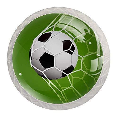 Soccer in Goal-01 - Juego de 4 pomos de cocina para armarios y armarios
