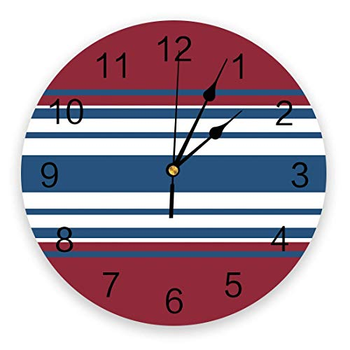 Wall Clocks Battery Operated Living Room Kitchen Wall Decor, 10 in Round Chic Wall Clock Silent Non Ticking Geometric Rectangle Stripes American Flag Independence Day Clock for Home Office School