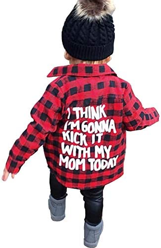 Toddler Long Sleeve Shirt Baby Boy Girl Plaid Top for Toddler Spring Winter Coat for Kid Red product image