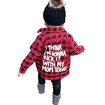 Toddler Long Sleeve Shirt Baby Boy Girl Plaid Top for Toddler Spring Winter Coat for Kid  Red Plaid 2-3 T