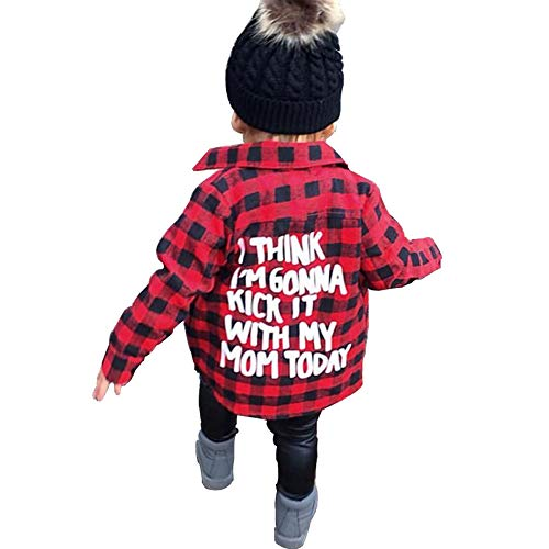Toddler Long Sleeve Shirt Baby Boy Girl Plaid Top for Toddler Spring Winter Coat for Kid (Red Plaid, 4-5 T)
