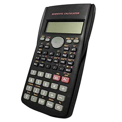 Matemáticas calculadora científica Doble líneas de la pantalla LCD Función pruebas de los estudiantes de la calculadora portátil para el hogar Oficina de la Escuela Negro