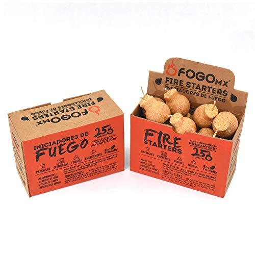 FOGOMX® - Iniciador de Fuego ecológico 100% Natural para encender carbón - Rinde para 16 reuniones - Prender leña, Prender fogata, Prender asador y chimeneas. Caja con 16 Piezas.