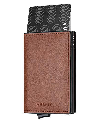 VULKIT Kreditkartenetui Leder Herren Geldbörse Geldbeutel Mini Wallet Pop Up mit RFID Schutz & 2 Steckplätzen für 5-7 Karten & Geldschein, Sattel Braun