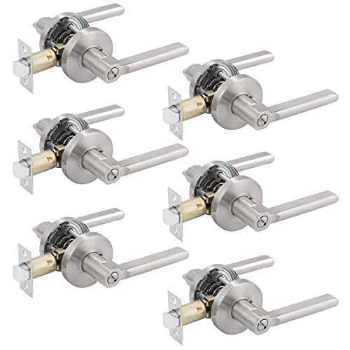 Flat Interior Door Handless Privacy Levers,for Bedroom Bathroom,Turn Button Locking Inside,Nickel Finished,6Pack