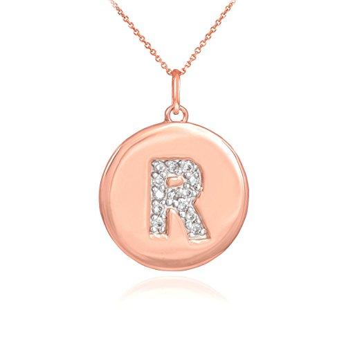 Little Treasures - 14 ct Rose Gold Letter 'R' Initial Diamond Disc Pendant Necklace
