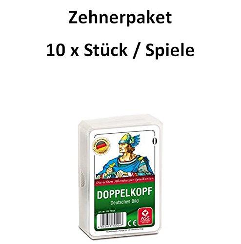 Zehnerpaket/ 10 Stück / 10x ASS Altenburger - Doppelkopf - Deutsches Bild - Deutsches Blatt/ Kornblume - Kartenspiel/ Kartenspiele, weiß