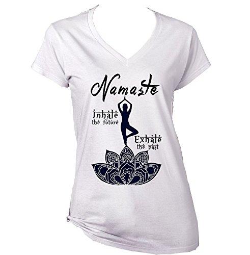 teesquare1st Women's Yoga Namaste White Tshirt T-Shirt Size XLarge
