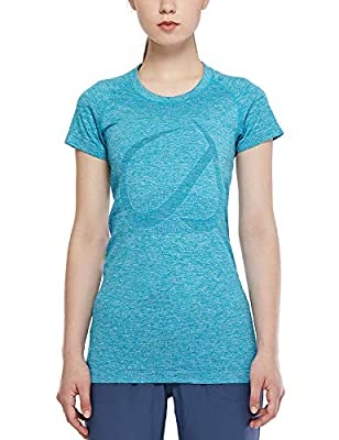 CRZ YOGA Seamless Workout Shirts for Women Short Sleeve Plain Tees Quick Dry Gym Athletic Tops Peacock Blue XL