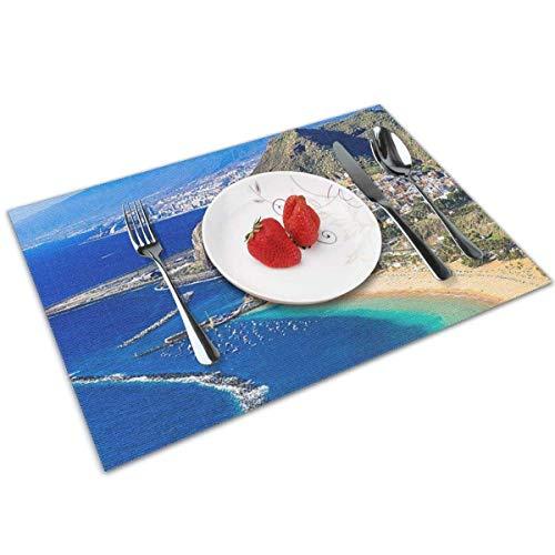 Pag Crane Mantel Individual Lavable para Mesa de Comedor, Antideslizante, Resistente al Calor, para Mesa de Cocina, Juego de 6-San Andres Tenerife Beautiful Tourism