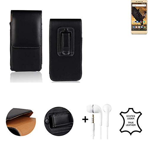 K-S-Trade® Leder Gürtel Tasche + Kopfhörer Für Allview P8 Pro Seitentasche Belt Pouch Holster Handy-Hülle Gürteltasche Schutz-Hülle Etui Schwarz 1x