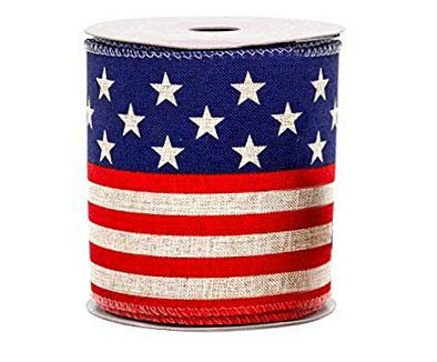 Red White Blue Patriotic Ribbon - 4' x 10 Yards, American Flag Ribbon for Wreaths, Memorial Day, President's Day, Veteran's Day, 4th of July, Trees, Crafts, USA, Rally, Election