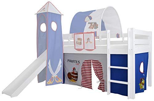 Mobi Furniture 3-delige Gordijnset grot piraat voor hoogslaper speelbed gordijnen kinderbed jongens
