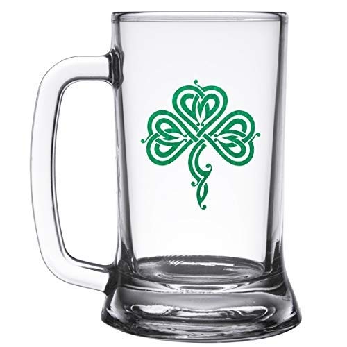 Personalized Non-Tip Saint Patrick's Day Beer Mug with Celtic Shamrock - Premium Heavy Base Beer Glass, BGN-SP01