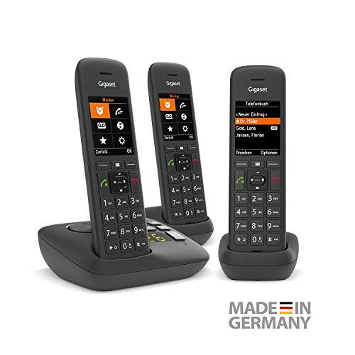 Gigaset C575A Trio DECT- Schnurlostelefone mit Anrufbeantworter für komfortables Telefonieren Made in Germany - mit großer Nummernanzeige, Farbdisplay und leichter Bedienbarkeit, schwarz