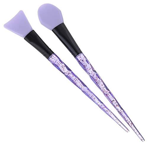 2 Pcs Pinceau Maquillage, DENGZI Kit De Maquillage CosméTique De Brosse De MéLange De Masque Facial De Boue De Visage De PoignéE De Cristal Transparent