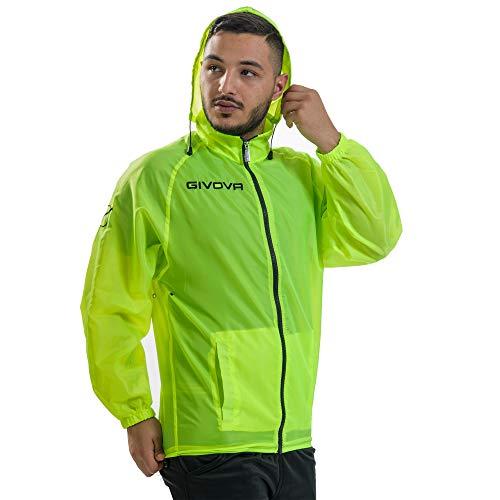 Givova K-Way Rain Basico Giubbotto Impermeabile Antivento Allenamento Training Sport - RJ001 (M, Giallo Fluo)