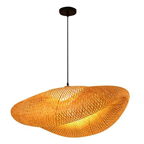 Lurrose - Cesta de mimbre para techo con colgante de luz, sombra, bambú, cúpula de mimbre, lámpara colgante para decoración rústica japonesa